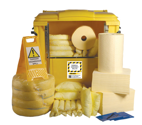 Chemical Spill Kit 4 Wheel cart drop front - 1000ltr absorbency - C1000SK