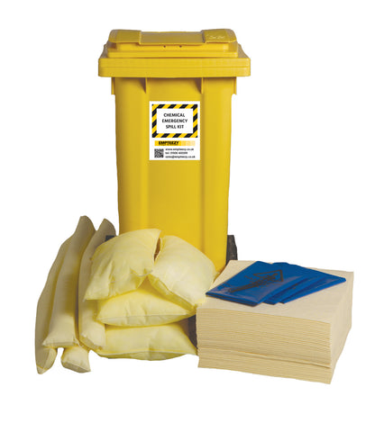 Chemical Spill Kit 2 Wheel bin with hinged lid - 120ltr absorbency - C120SK