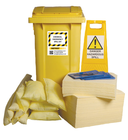 Chemical Spill Kit 2 Wheel bin with hinged lid - 240ltr absorbency - C240SK