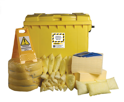 Chemical Spill Kit 4 Wheel cart with hinged lid - 600ltr absorbency - C600SK