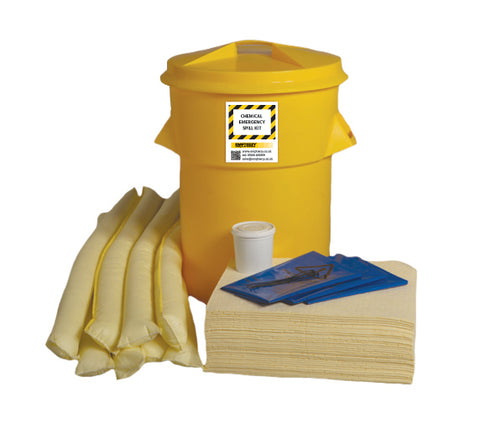 Chemical Spill Kit Twin handles cylindrical bin - 90ltr absorbency - C90SK