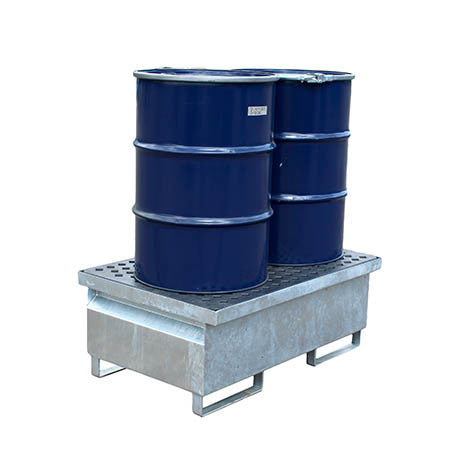 Galvanised Steel Spill Pallet - 2 drums