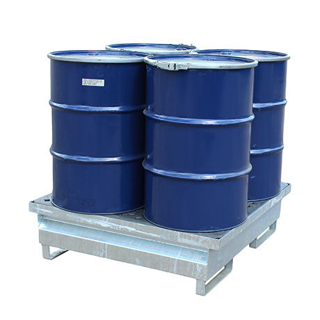 Galvanised Steel Spill Pallet - 4 drums