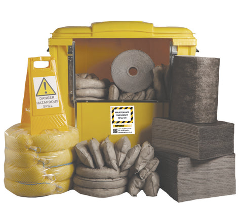 Maintenance Spill Kit 4 Wheel cart drop front - 1000ltr absorbency - M1000SK
