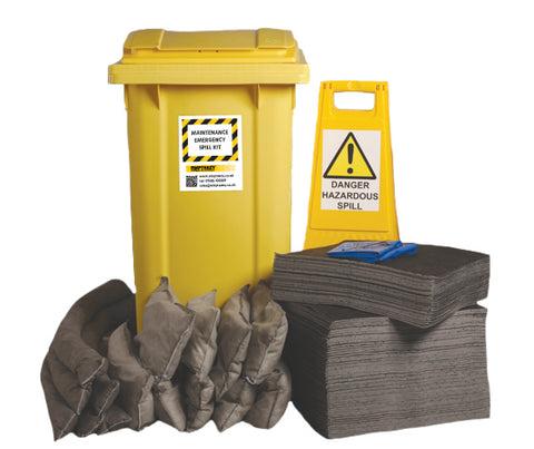 Maintenance Spill Kit 2 Wheel bin with hinged lid - 240ltr absorbency - M240SK