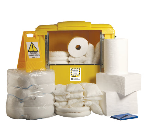 Oil Selective Spill Kit 4 Wheel cart drop front - 1000ltr absorbency - OS1000SK
