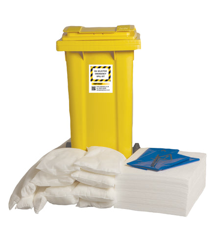 Oil selective Spill Kit 2 Wheel bin with hinged lid - 120ltr absorbency - OS120SK