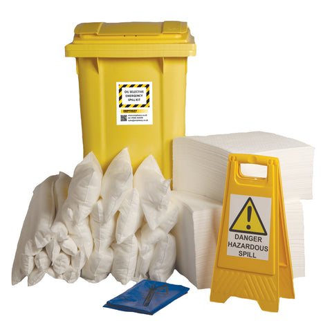 Oil Selective Spill Kit 2 Wheel bin with hinged lid - 360ltr absorbency - OS360SK