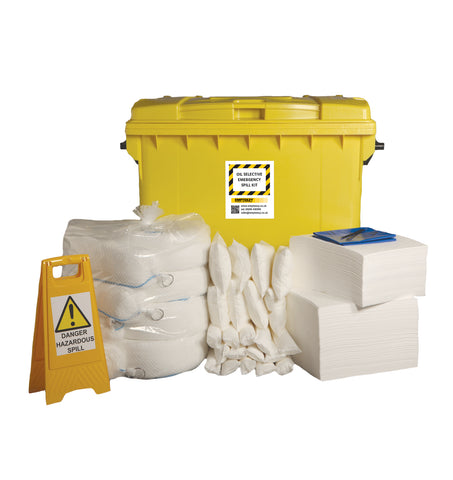 Oil Selective Spill Kit 4 Wheel cart with hinged lid - 600ltr absorbency - OS600SK