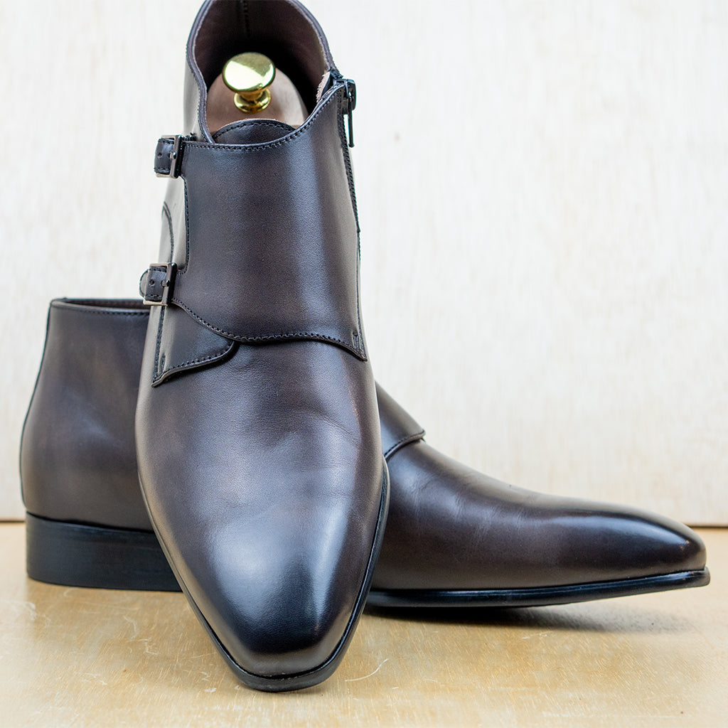 Double Monk Boots Dark Brown