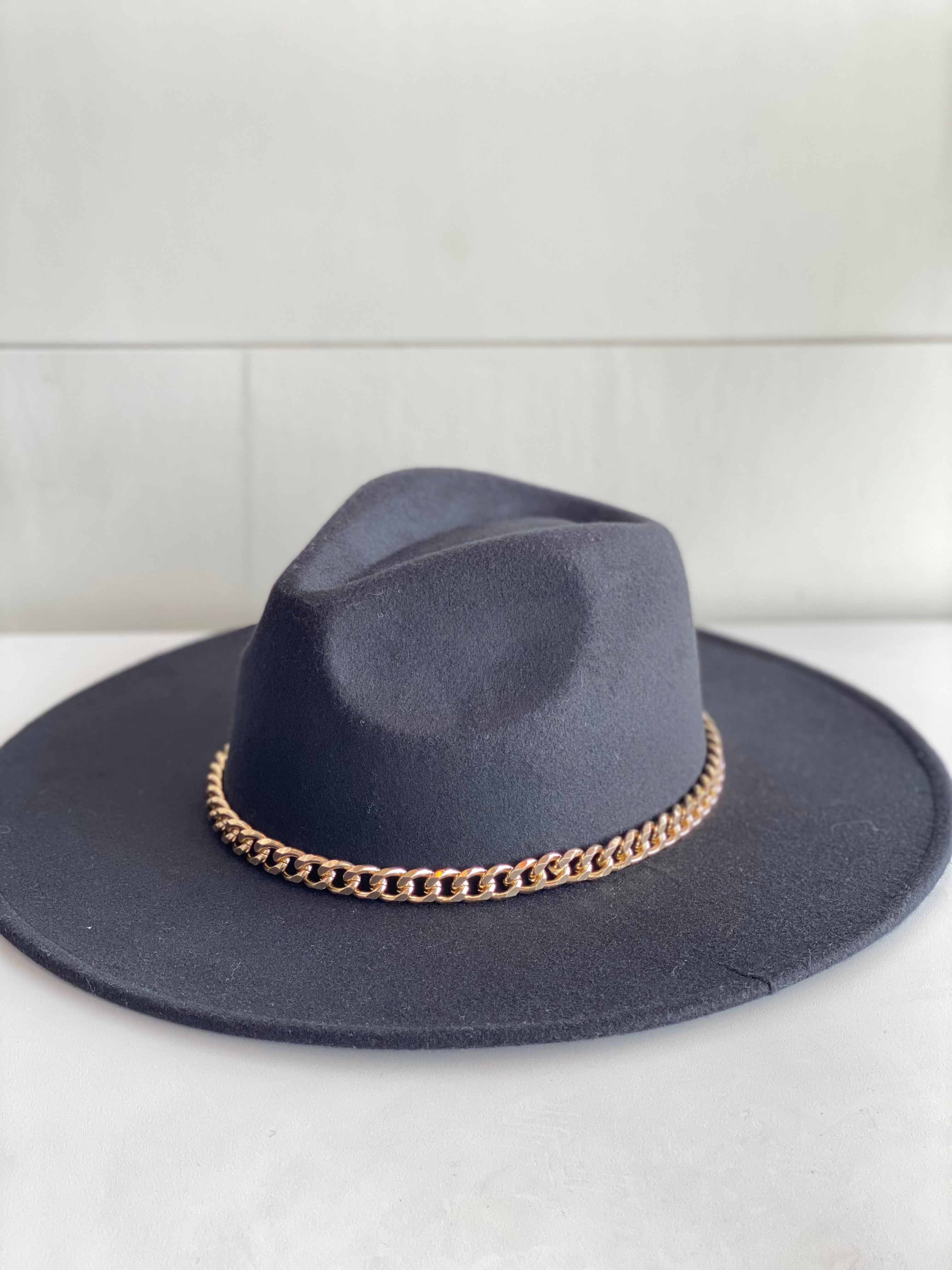 Felt Hat with Chain Gold Chain