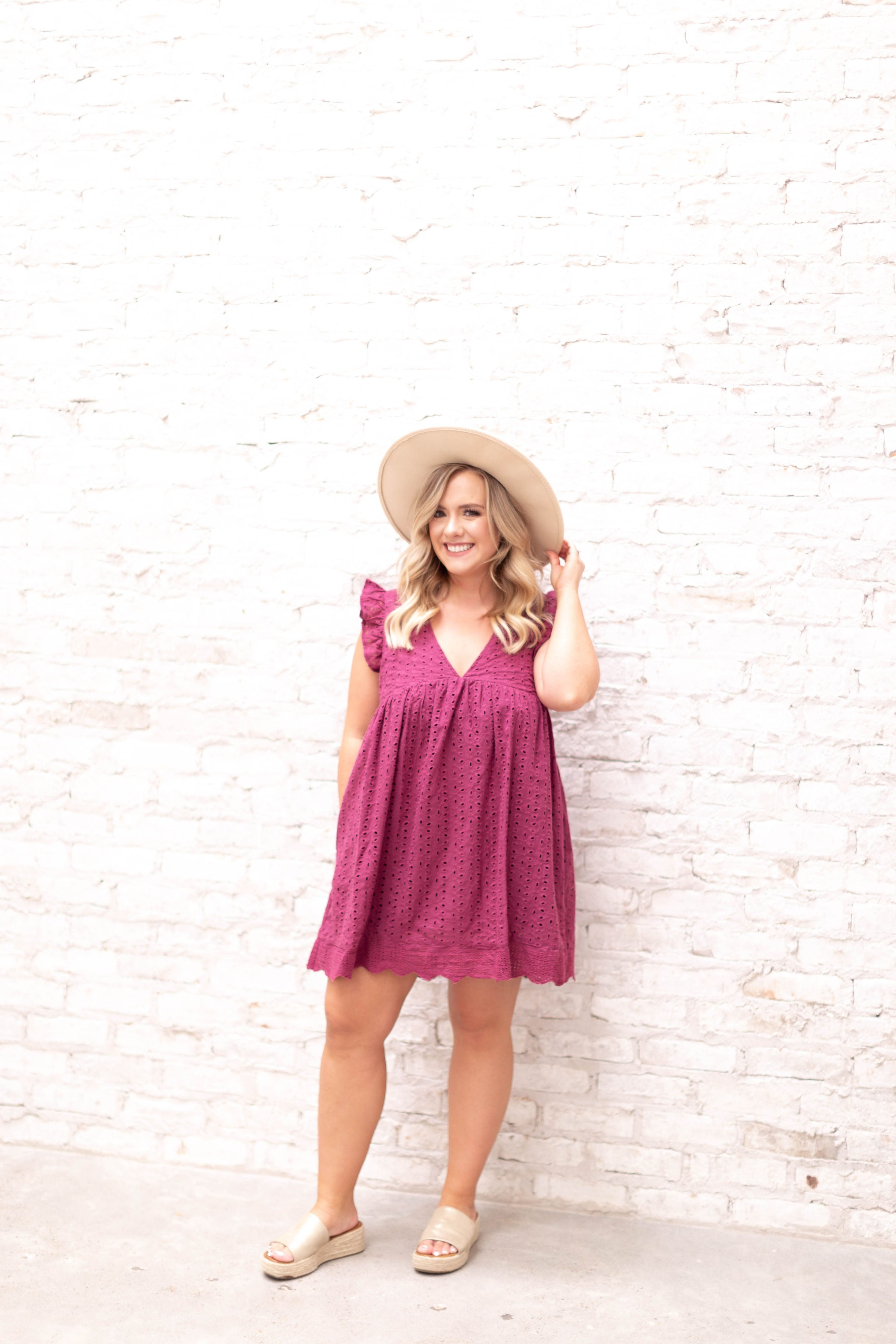 Crochet Romper Dress with Pockets
