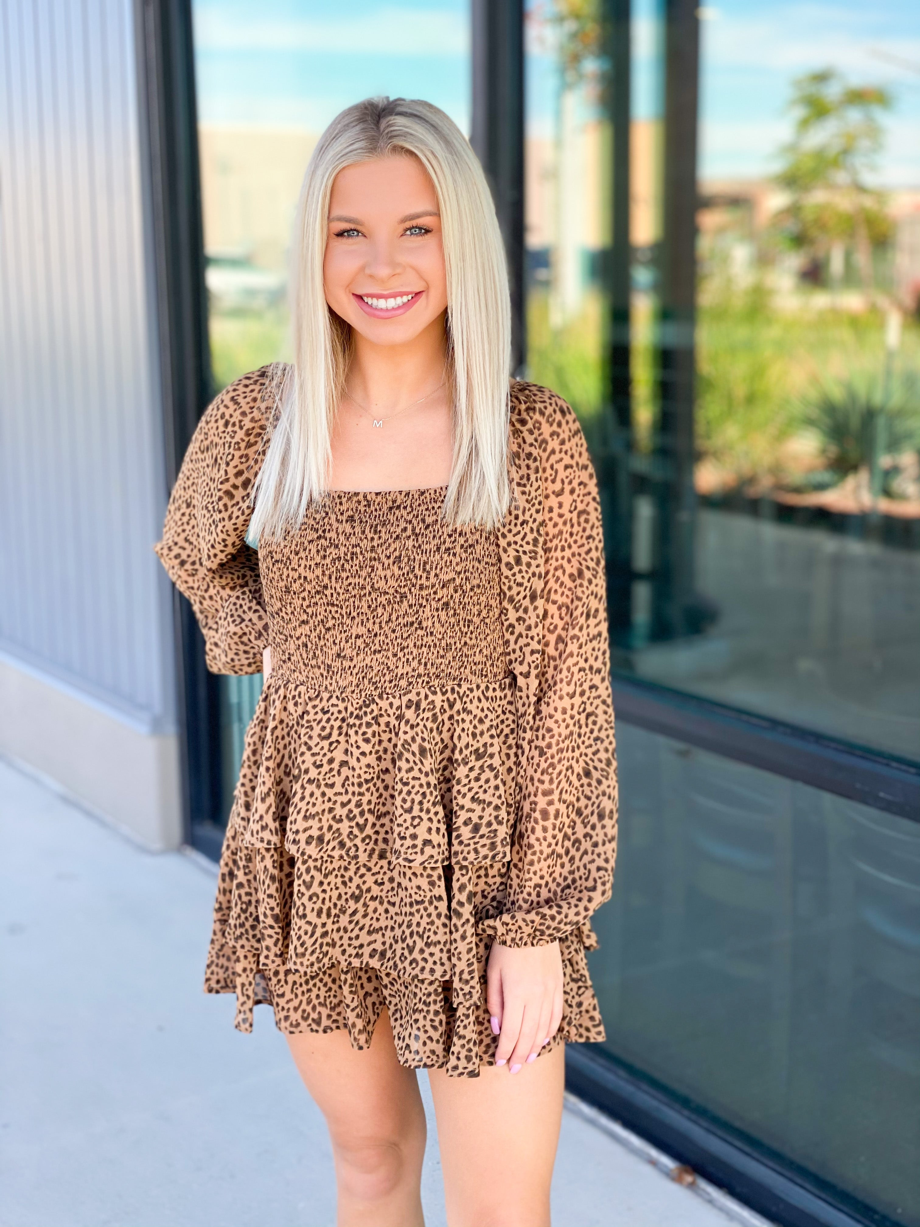 Leopard Ruched Top Layered Romper