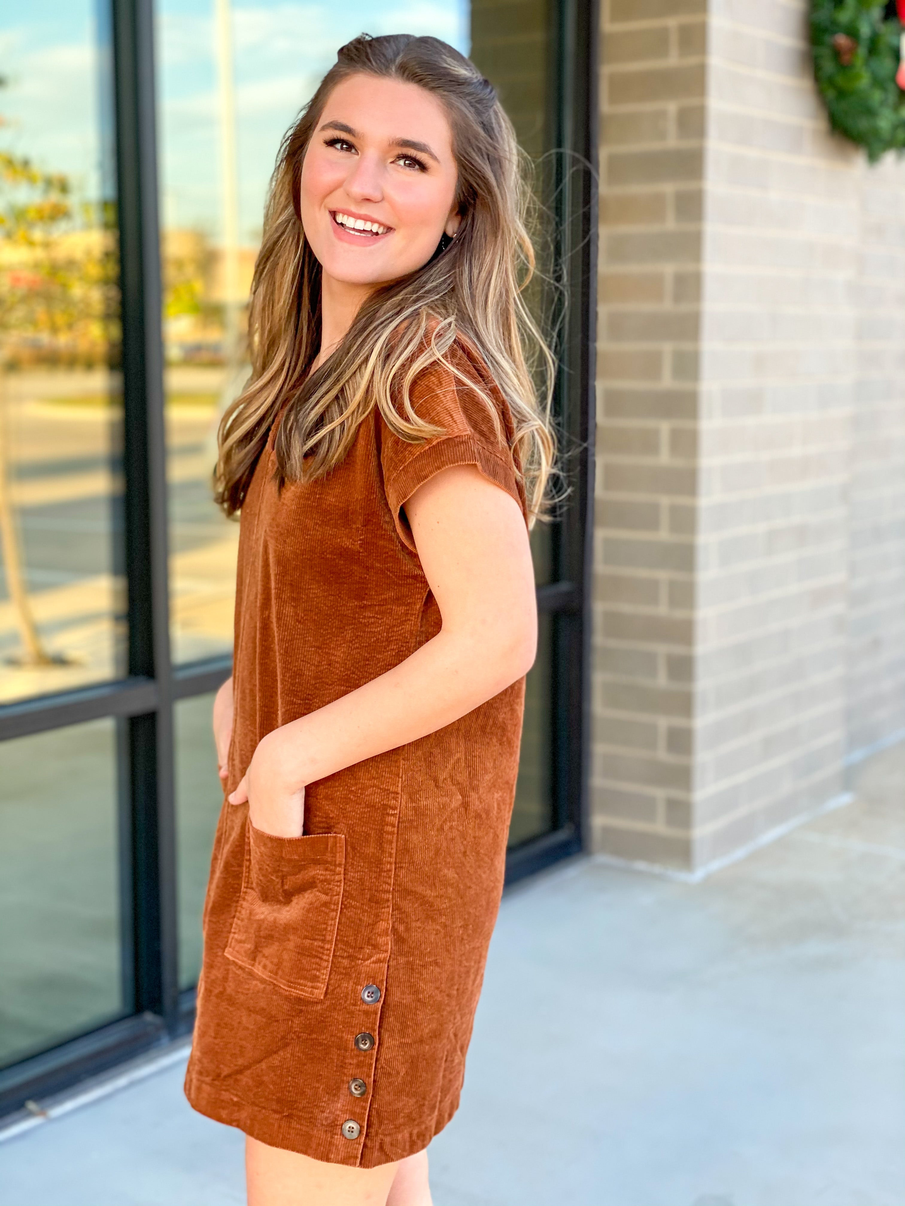 Corduroy Dress with Side Buttons