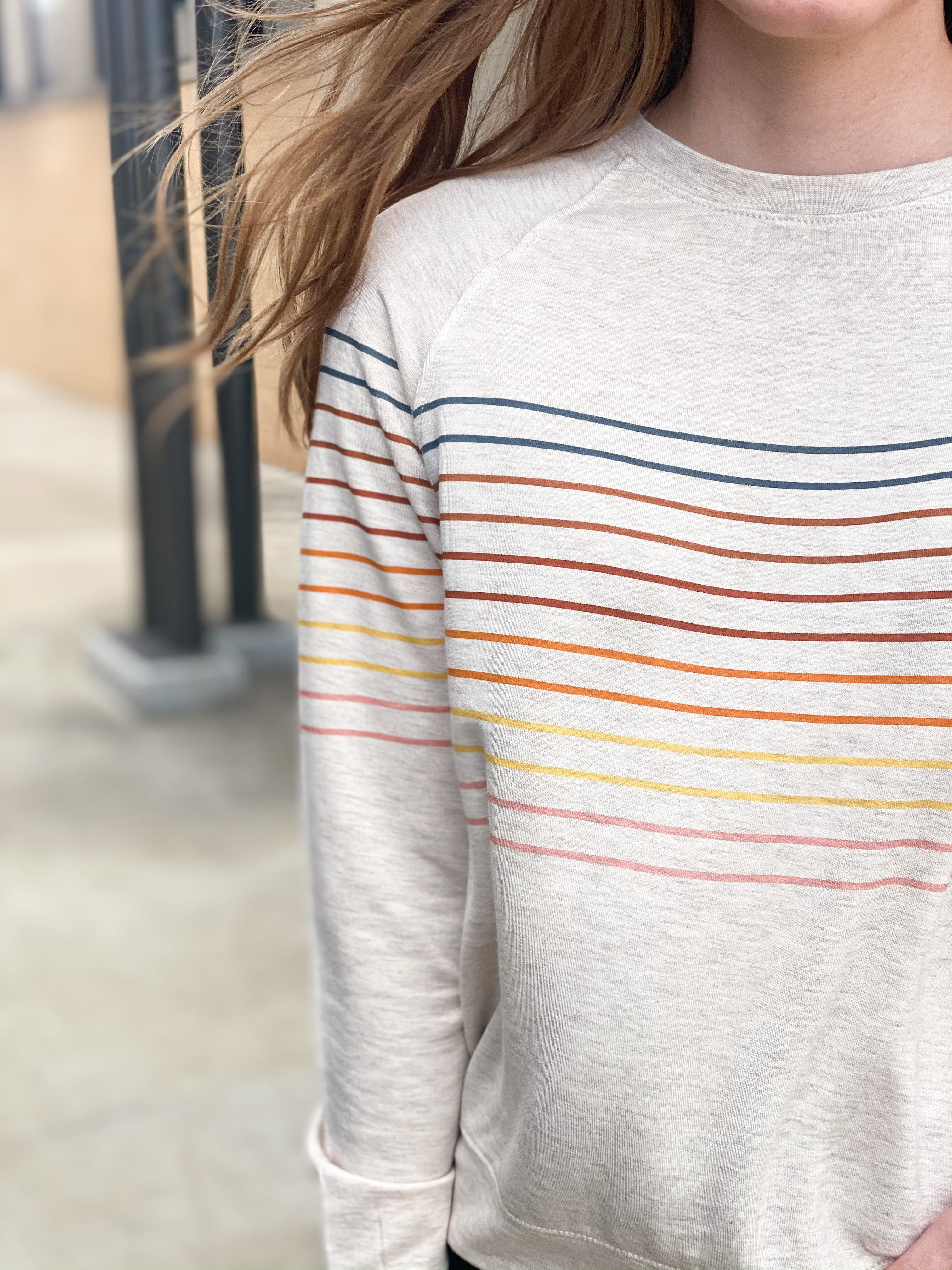 Rainbow Striped Oatmeal Pullover