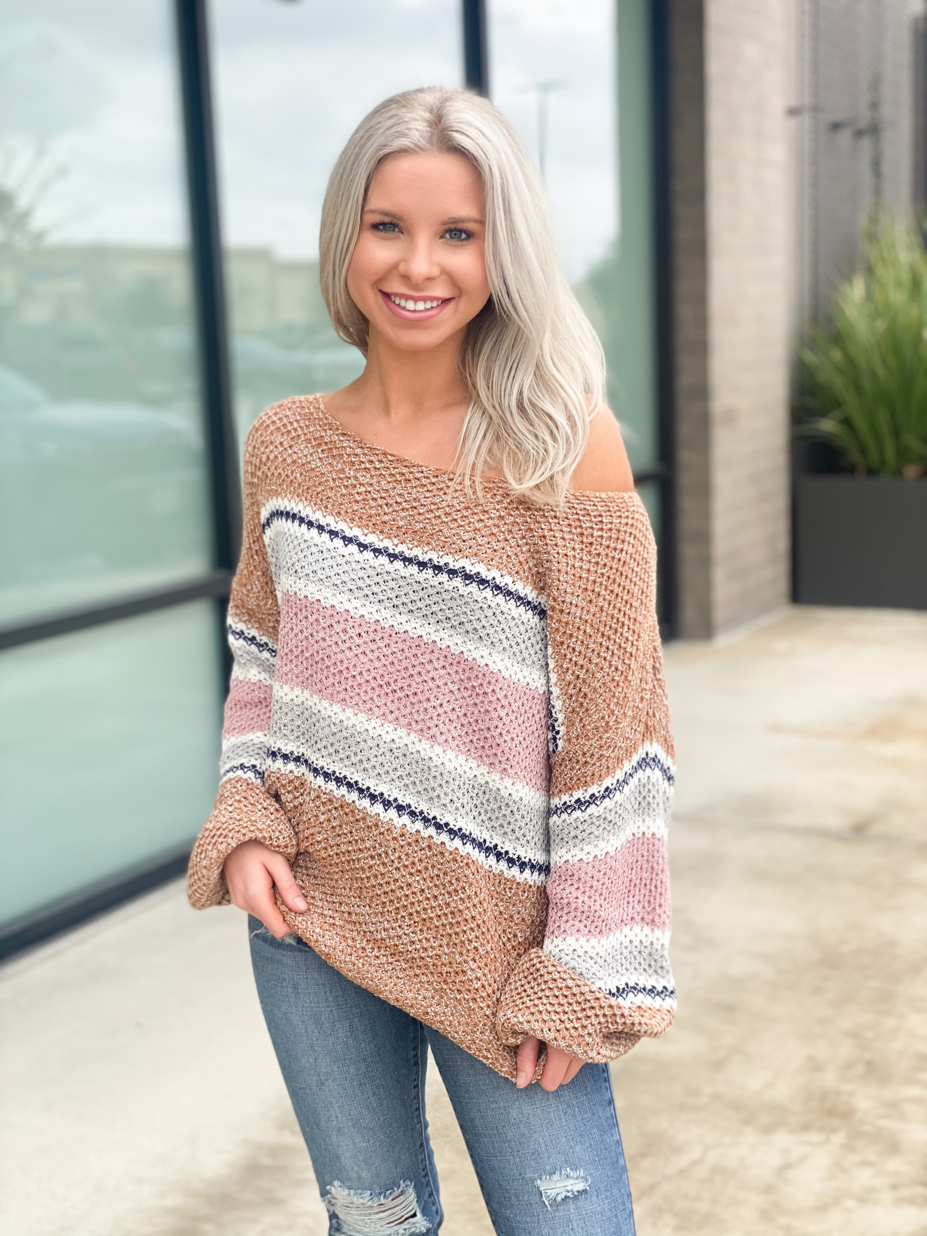 Mid Stripe Wide Collar Knit Sweater