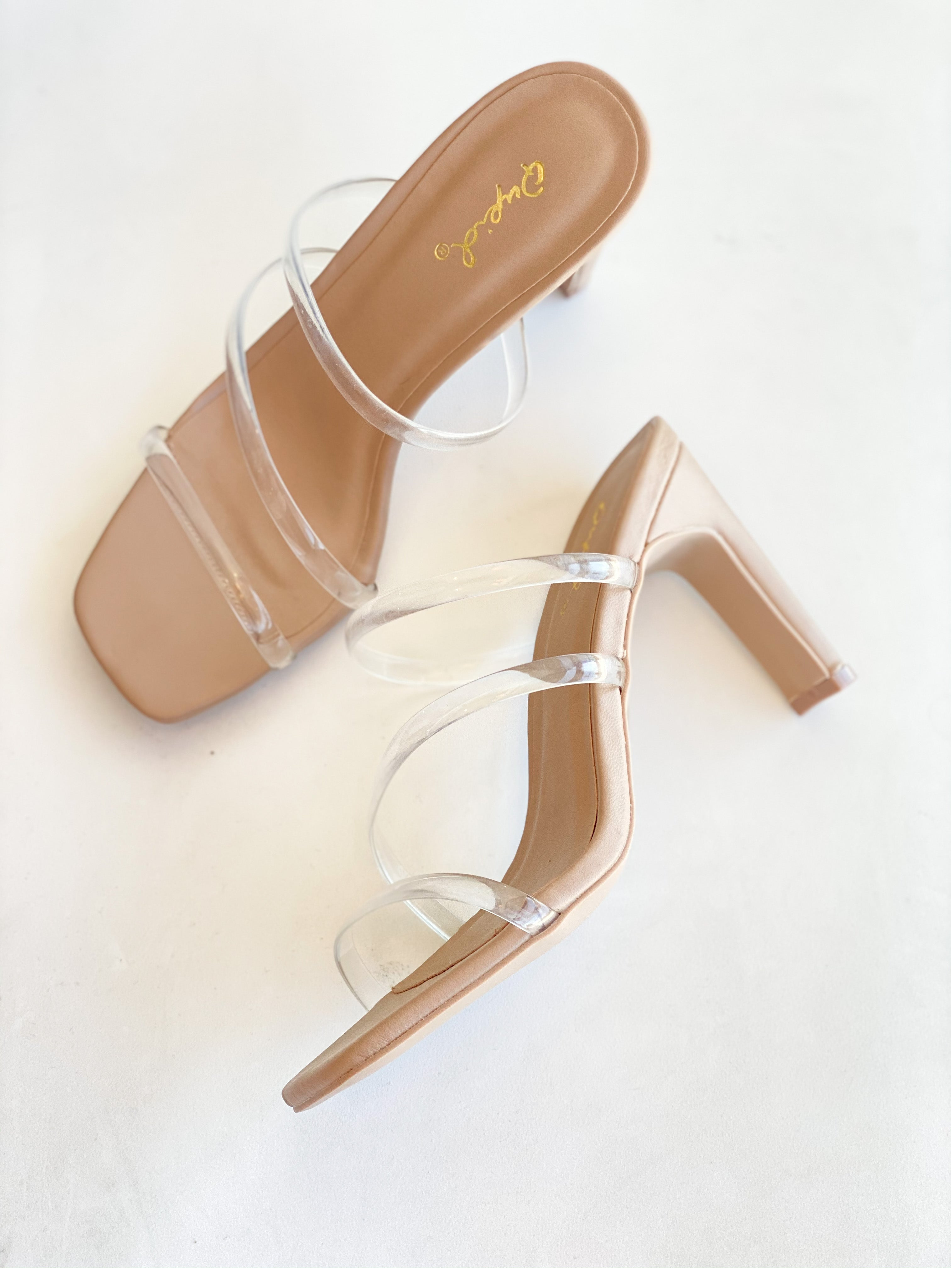 Clear Strap Nude Heel