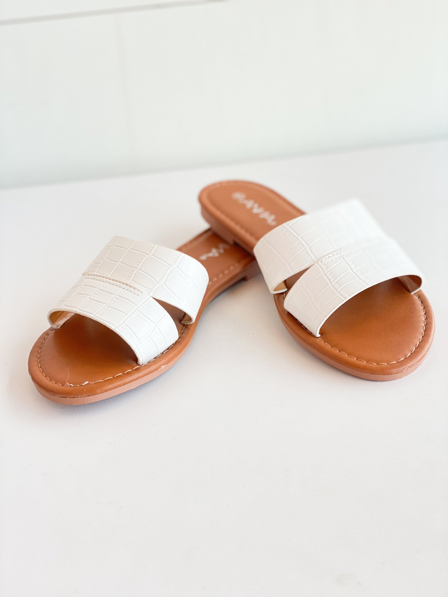 Croco Strap Slip On Sandal