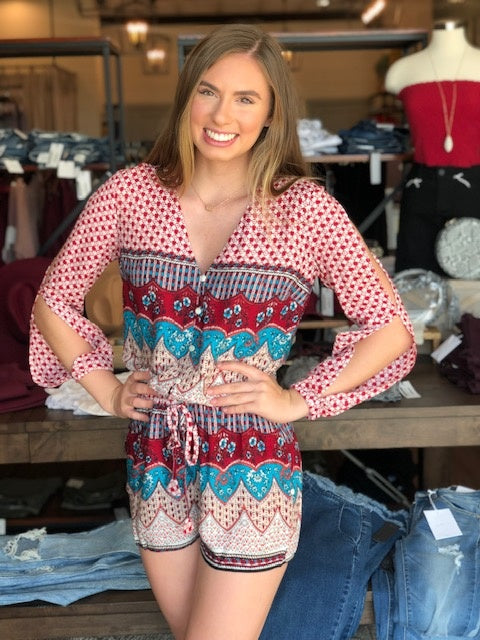 Printed and Sleeved Romper