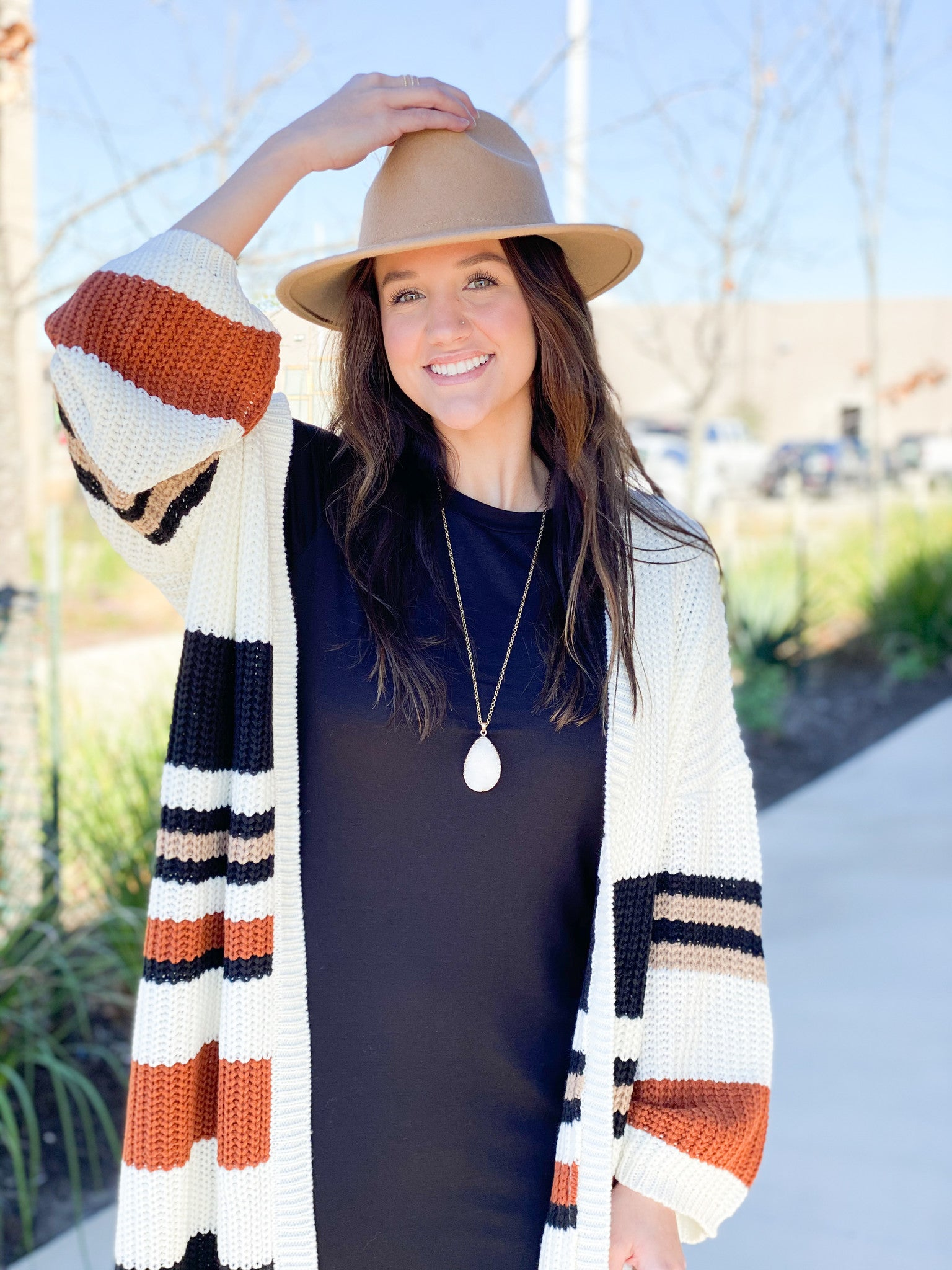 Striped Knit Long Cardigan