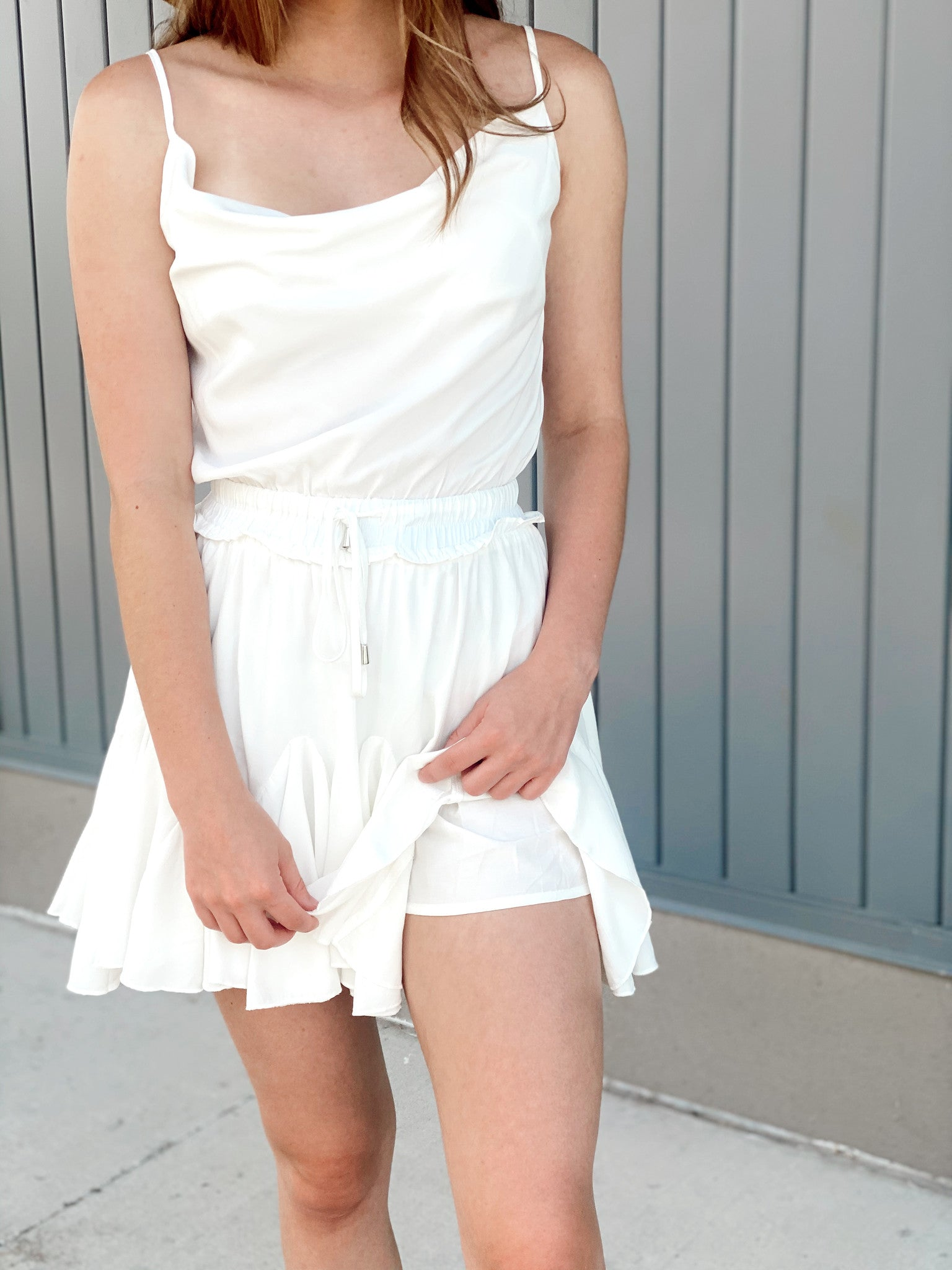 Elastic Waist and Cowl Neck Mini with Shorts