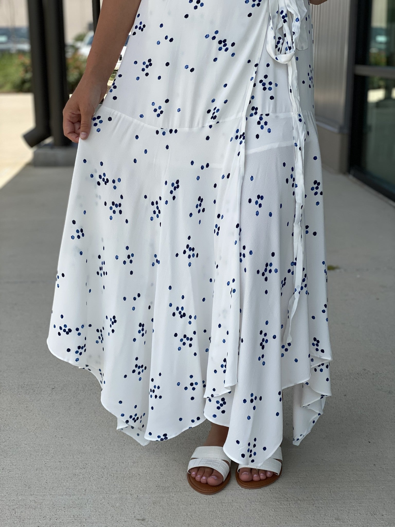 Spotted Print Wrap Hi Low Maxi