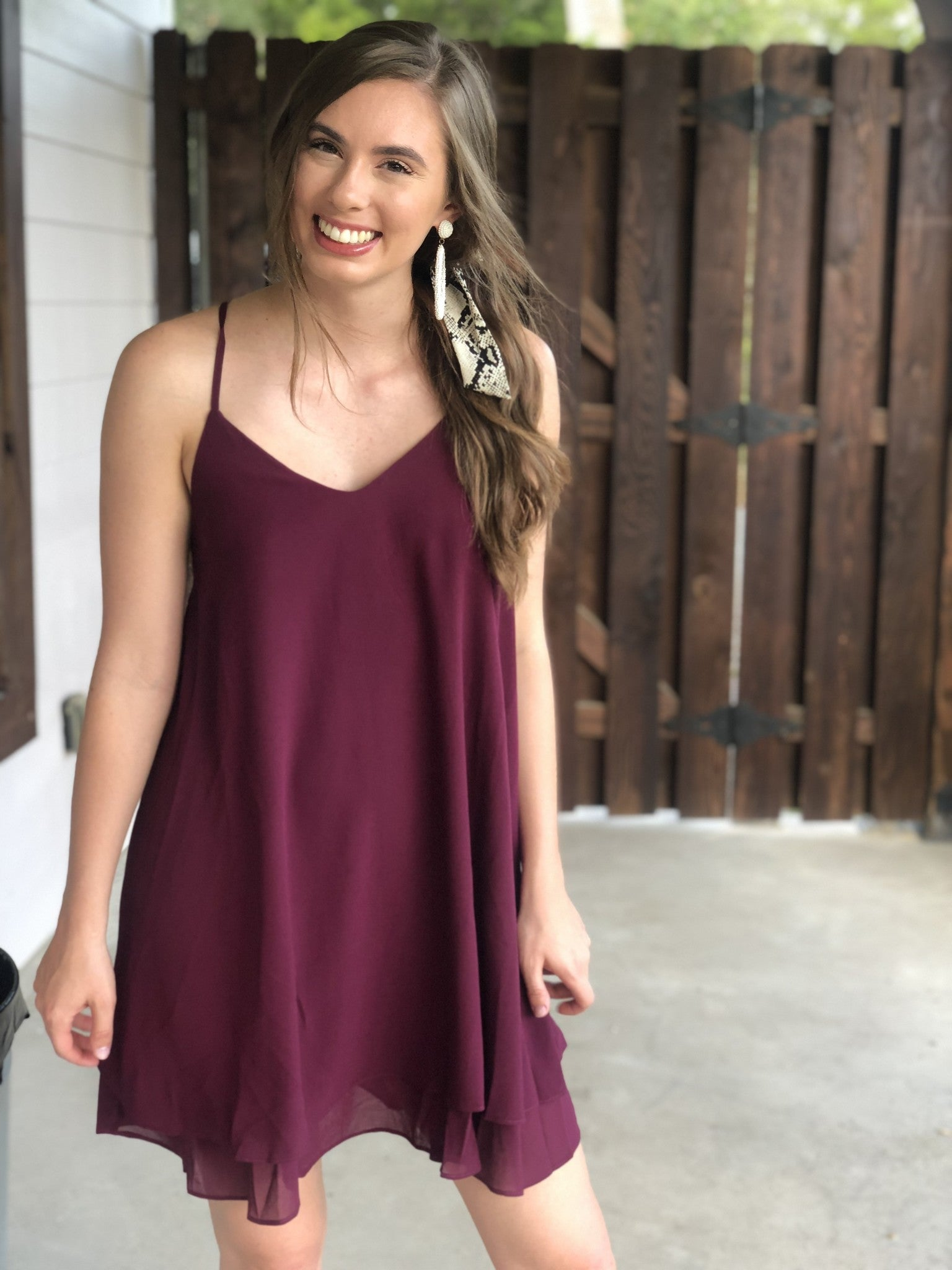 Tie Back Maroon Shift Dress