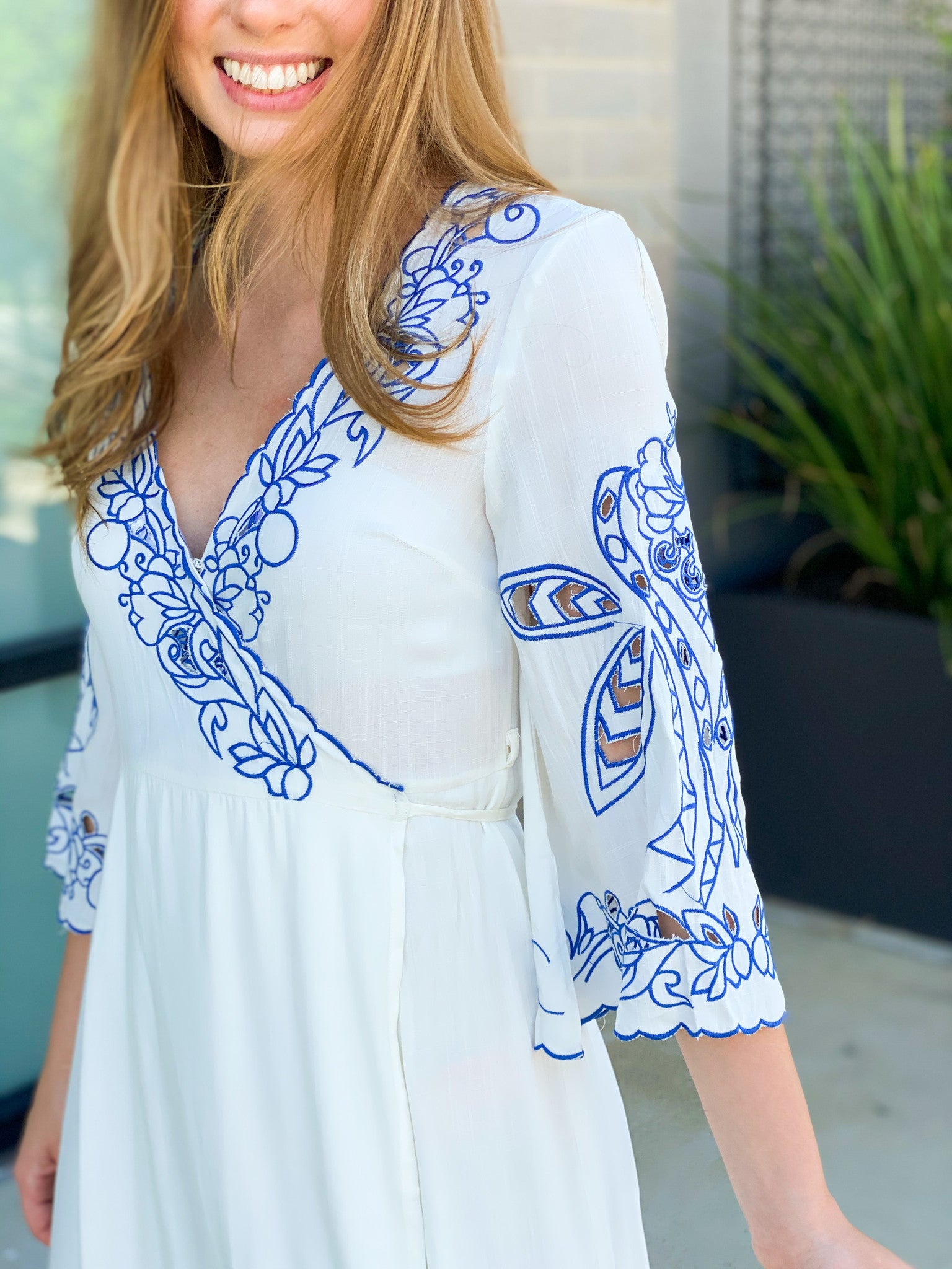 Floral Cut-Out Trim Wrap Dress