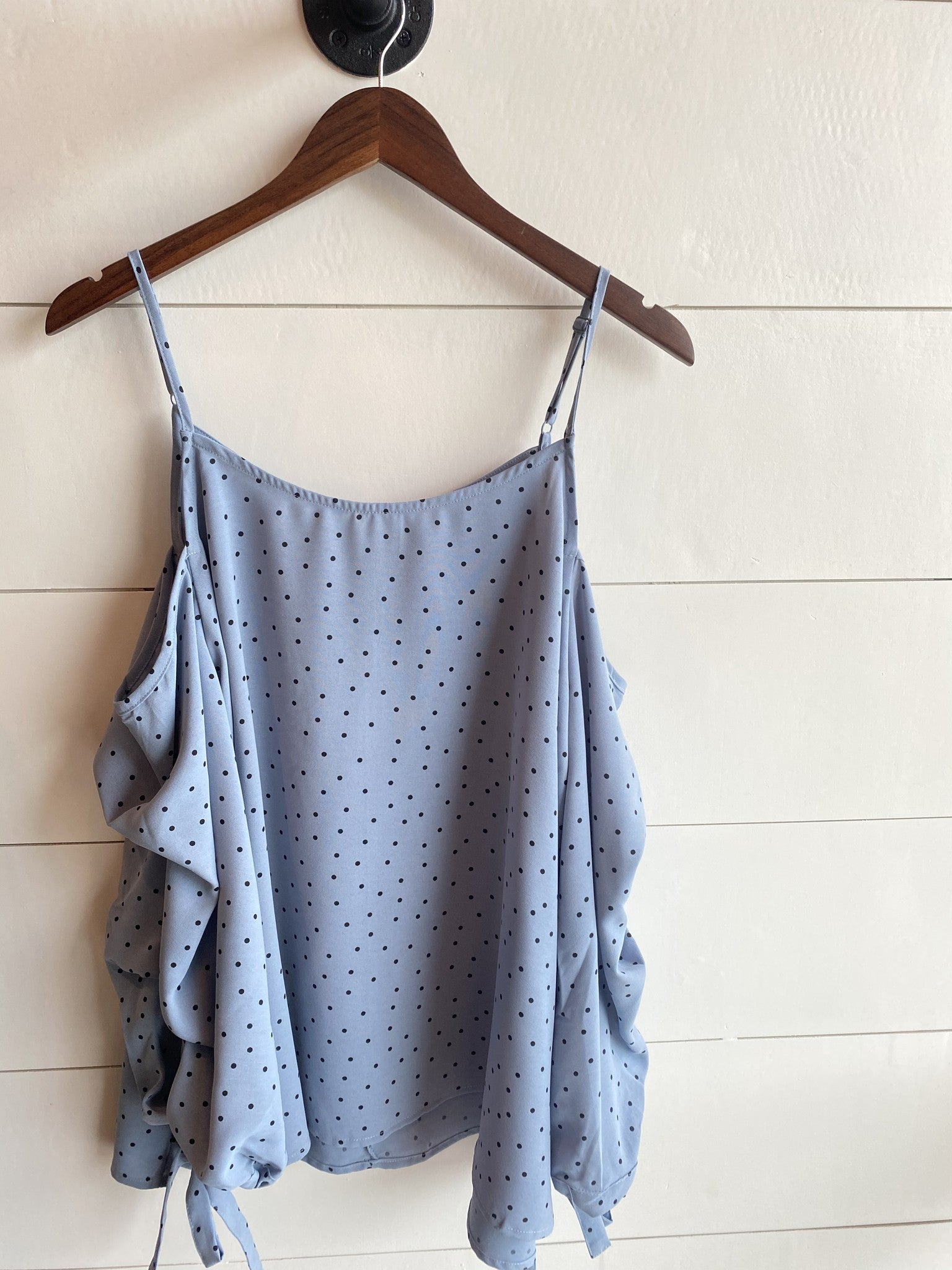 Polka Dot Bubble Sleeve Cold Shoulder