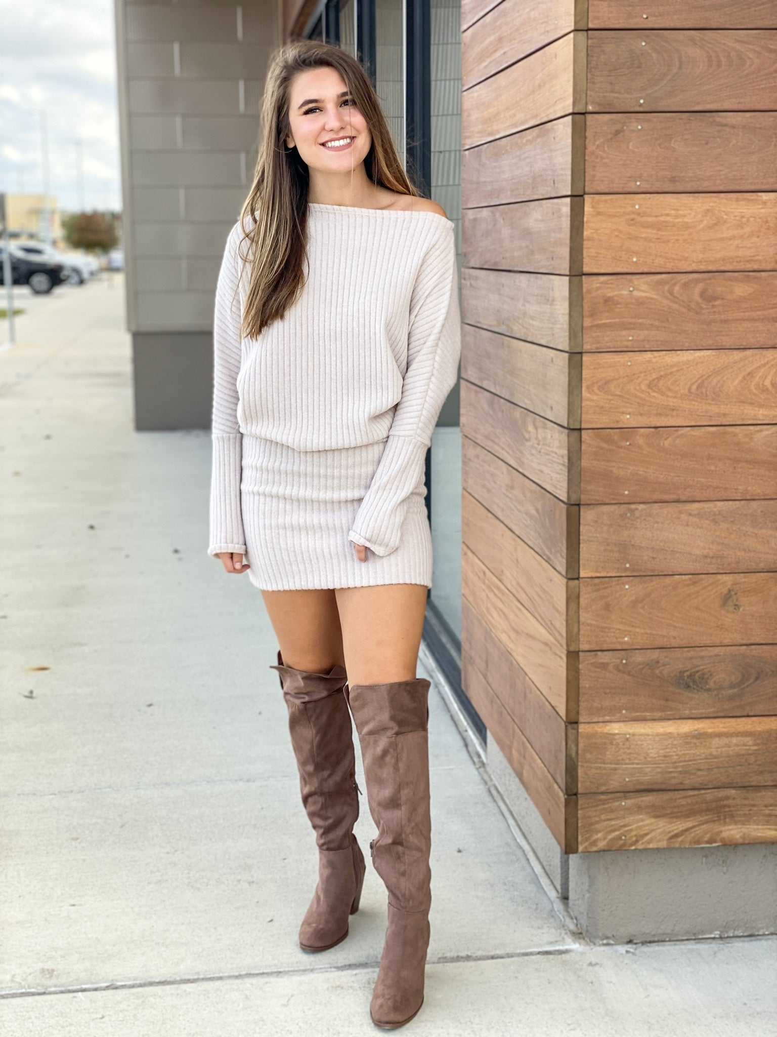 Ribbed One Shoulder Sweater Dress