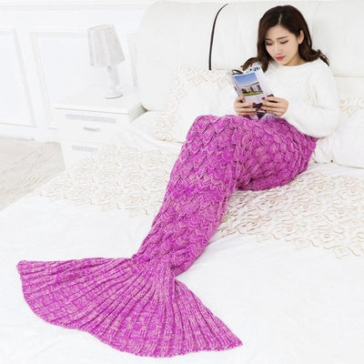 Mermaid Blanket Handmade Knitted Sleeping Kids Adult Blanket Couverture sirene