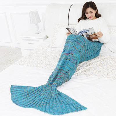 Wave Mermaid Tail Blankets Soft Sleeping Bed Handmade Anti-Pilling Portable Blanket For Autumn