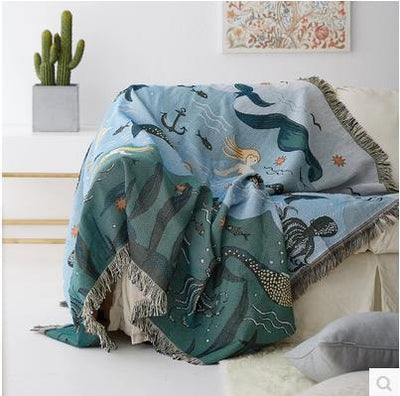Mermaid Sofa Towel Blanket For Couch Sofa Decorative Slipcover Throws Rectangular Stitching Travel Plane Blanket