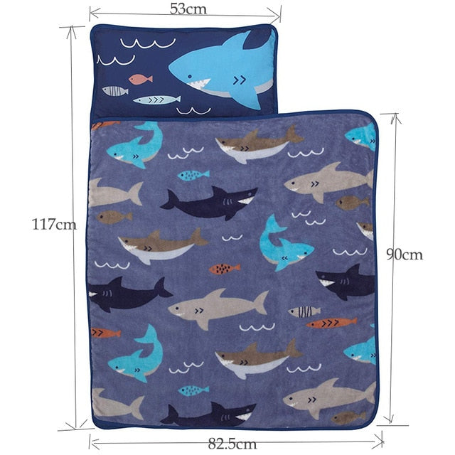 Little Mermaid Toddlers Preschool Daycare Nap Mat with Pillowcases and Blanket for Boys Girls