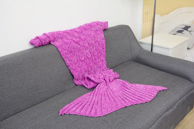 CAMMITEVER 180*90cm Big Mermaid Tail Blanket Crochet Mermaid Blanket for Adult, Soft All Seasons Sleeping Blankets
