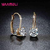 Exquisite Bright Crystal Gold Color 925 Sterling Silver Earrings Fashion