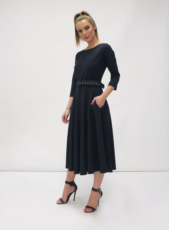 Navy swing dress. Belted