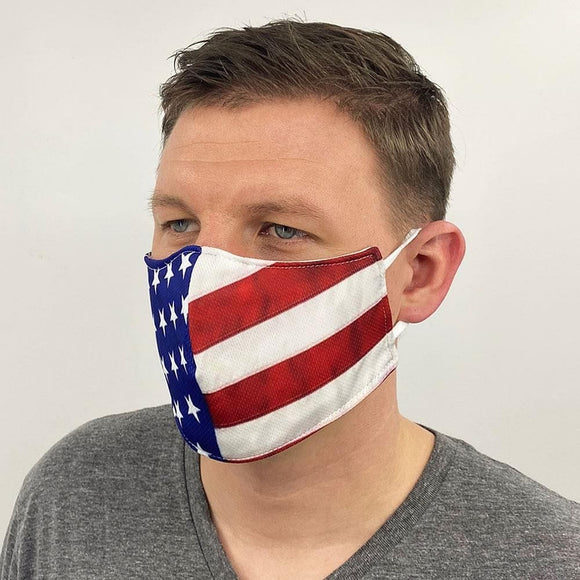 Face Mask | Reusable Cloth | American Flag | Made in the USA - Hygiene Village