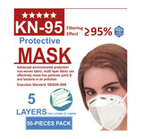 KN-95 Protective Face Mask | 5 Layers | 50 Pack - Hygiene Village
