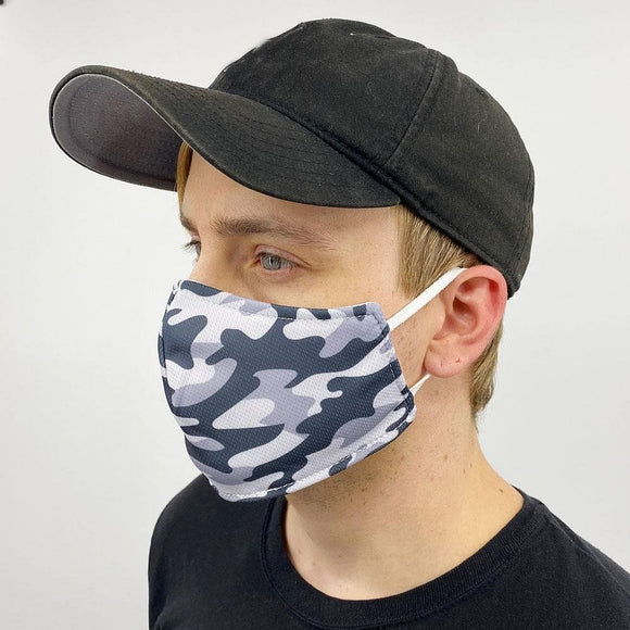 Face Mask | Reusable Cloth | Grey Camo | Made in the USA - Hygiene Village