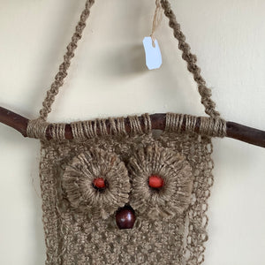 Macrame - Brown owl wall hanging