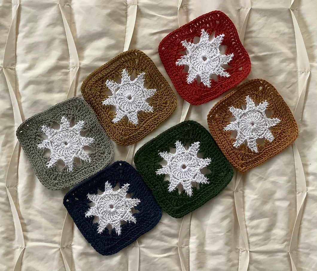 Coasters - crotchet squares with stars