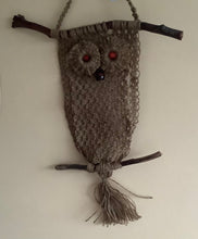Load image into Gallery viewer, Macrame - Brown owl wall hanging