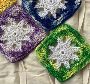 Coasters - crotchet multi-shade squares with stars