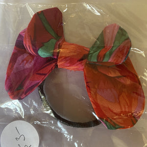Hair Accessory - Elastic with bow - Shades of red and green