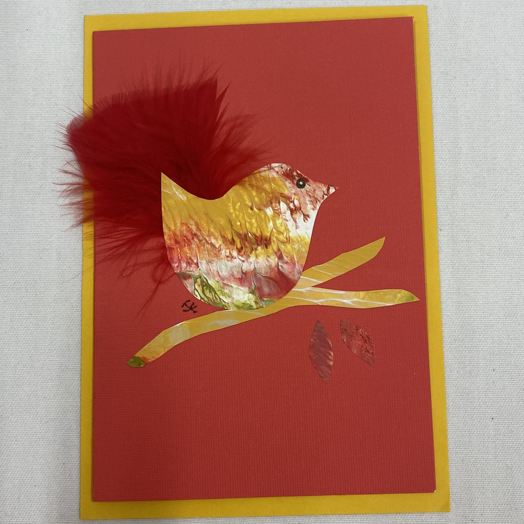 Stationery - Card - Yellow bird on red background