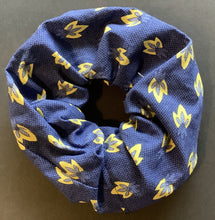 Load image into Gallery viewer, Hair Accessory - Scrunchie - Yellow on blue