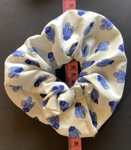 Load image into Gallery viewer, Hair Accessory - Scrunchie - White with blue