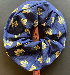 Hair Accessory - Scrunchie - Yellow on blue