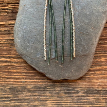 Load image into Gallery viewer, Forest green jade dangle earrings. Jade beads with silver accents.
